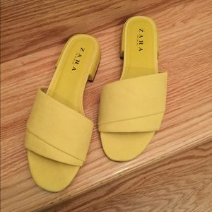 ZARA Trafaluc Yellow Suede Slides 9
